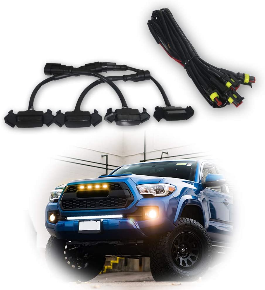 Lighting Kit with Fuse Adapter /& The Wiring Harness 4 PCS,Smoked Shell with Yellow Light KanSmart Smoked LED Grille Lights for 2016 2017 2018 Toyota Tacoma TRD Pro