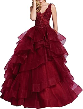 c8d7f93f08 XSWPL Sexy Appliques Beaded Deep V neck Long Prom Ball Gown Tulle Swwet 16 Quinceanera  Dresses