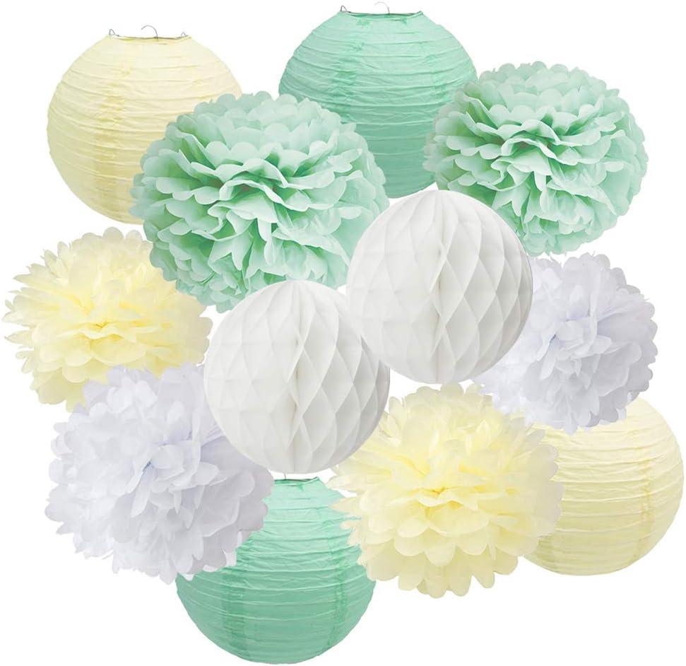 Mint Green Baby Shower Decorations Set-Sage Green White Poms & Lantern, First Year Birthday, Boys Cake Smash Decoration, Mint Green Pastel Wedding
