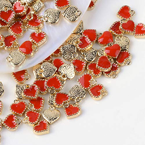 Pandahall 100pcs Red Heart Charms Alloy Enamel Pendants 8x7.5x2.5mm Mini Heart Beads Gold Plated Dangle Charms for Jewelry Making Valentine's Day Accessories Finding Supplies Hole: 1.5mm