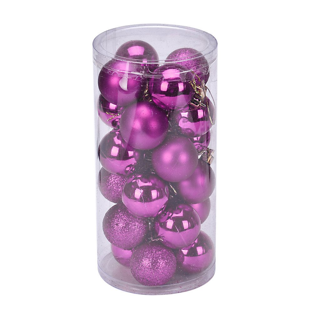 callm Christmas Tree Ornament,24Pcs/Pack 4cm Christmas Xmas Tree Ball Bauble Hanging Home Party Ornament Decor (Hot Pink)
