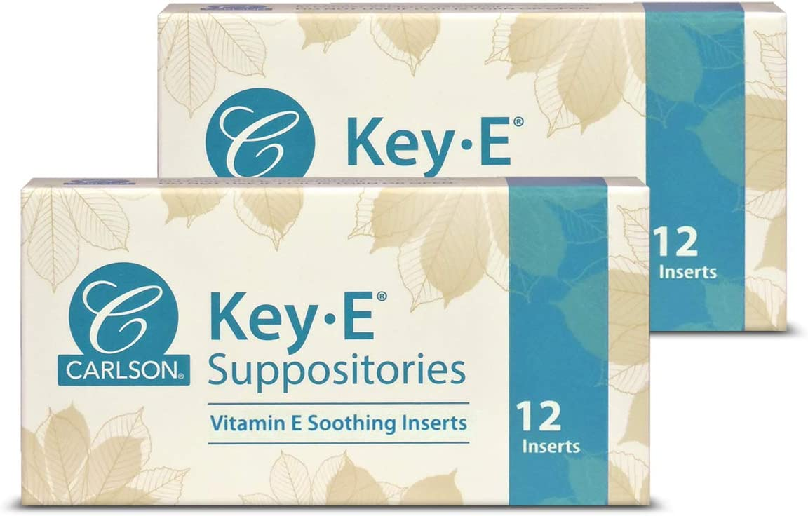 Carlson - Key-E Suppositories, Vitamin E, Lubricates Dry Areas, Vaginal & Rectal, 12 Count (2 Pack)