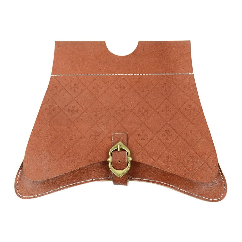 Medieval Tan Leather Embossed Cross Belt Satchel