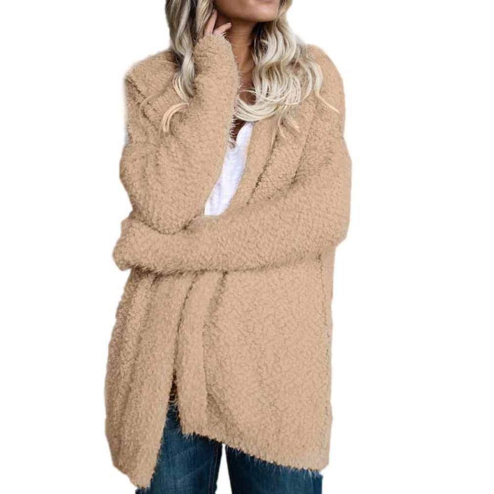 Faionny Womens Hooded Cardigan Solid Coat Long Sleeve Tops Loose Sweater Casual Jumper
