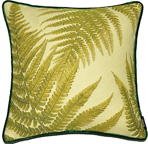McAlister Textiles Fern Tapestry | Woven Forest Fern Pillow Cover | Green Embroidered 16x16 Throw Cushion Case | Textured Linen, Crewel Needlepoint Plant Leaf | Nature Botanical Accent Decor