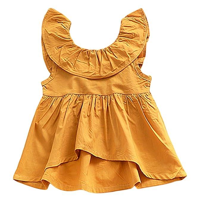 Amazon.com: Yoha bebé bebé niñas Ruffle parte superior de la ...