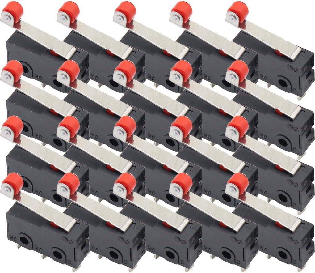 PRENKIN 20pcs Fin de Course Mini Rouleau de Course Micro Levier Fin de Course CNC Router Imprimante Levier Bras 3D Commutateur KW12