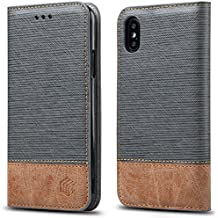 For iPhone X, iPhone 10 Case,WenBelle Blazers Series,Stand Feature,Double Layer Shock Absorbing Premium Soft PU Color matching Leather Wallet Cover Flip Cases For apple iPhone X 5.8 inch (Grey)