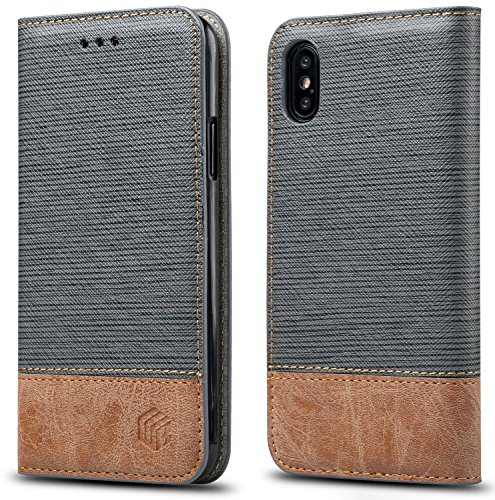 For iPhone X , iPhone 10 Case,WenBelle Blazers Series,Stand Feature,Double Layer Shock Absorbing Premium Soft PU Color matching Leather Wallet Cover Flip Cases For apple iPhone X 5.8 inch (Grey)