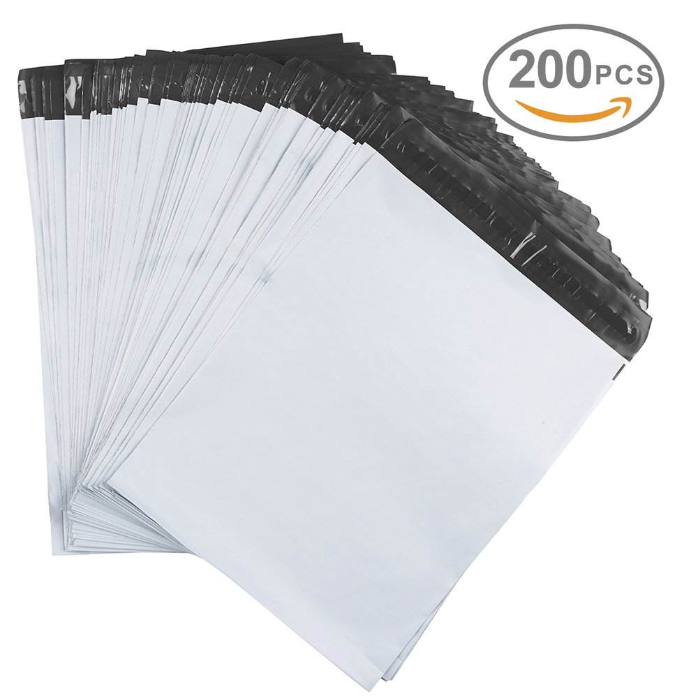 Metronic 200 7.5 x 10.5 Poly Mailer Envelopes Shipping Bags with Self Adhesive, Waterproof and Tear-Proof Postal Bags&White (White, 200) by Metronic (Image #1)