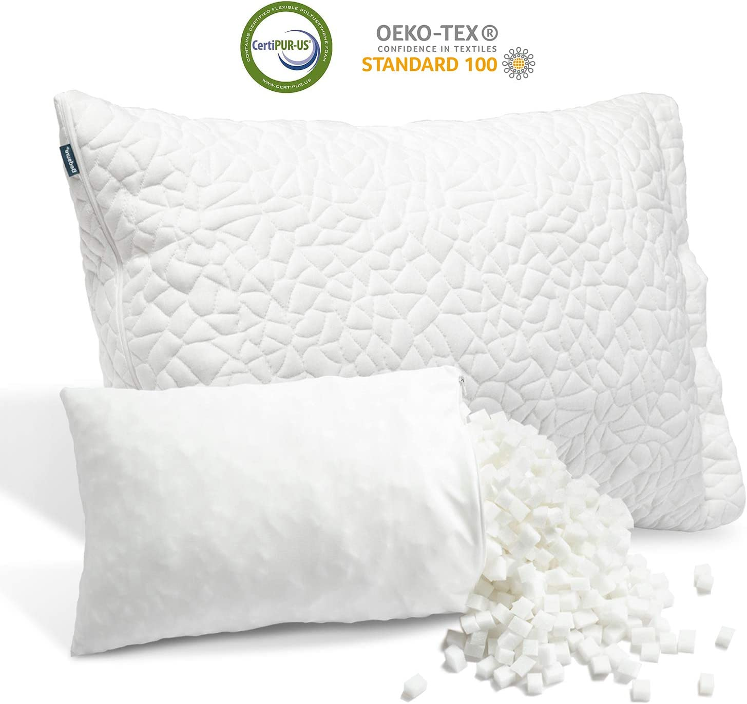 Bedsure Bamboo Shredded Memory Foam Pillow for Sleeping, with Extra Filling and Washable Cooling Cover, Adjustable Loft Pillow for Stomach Side Back Sleepers, CertiPUR-US Certified(Queen Size)