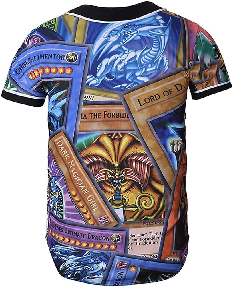 Yhgjhuie Yu-Gi-Oh Loose Primavera Girocollo Stampate Manica Corta Giacca da Baseball T-Shirt per Uomini e Donne Top