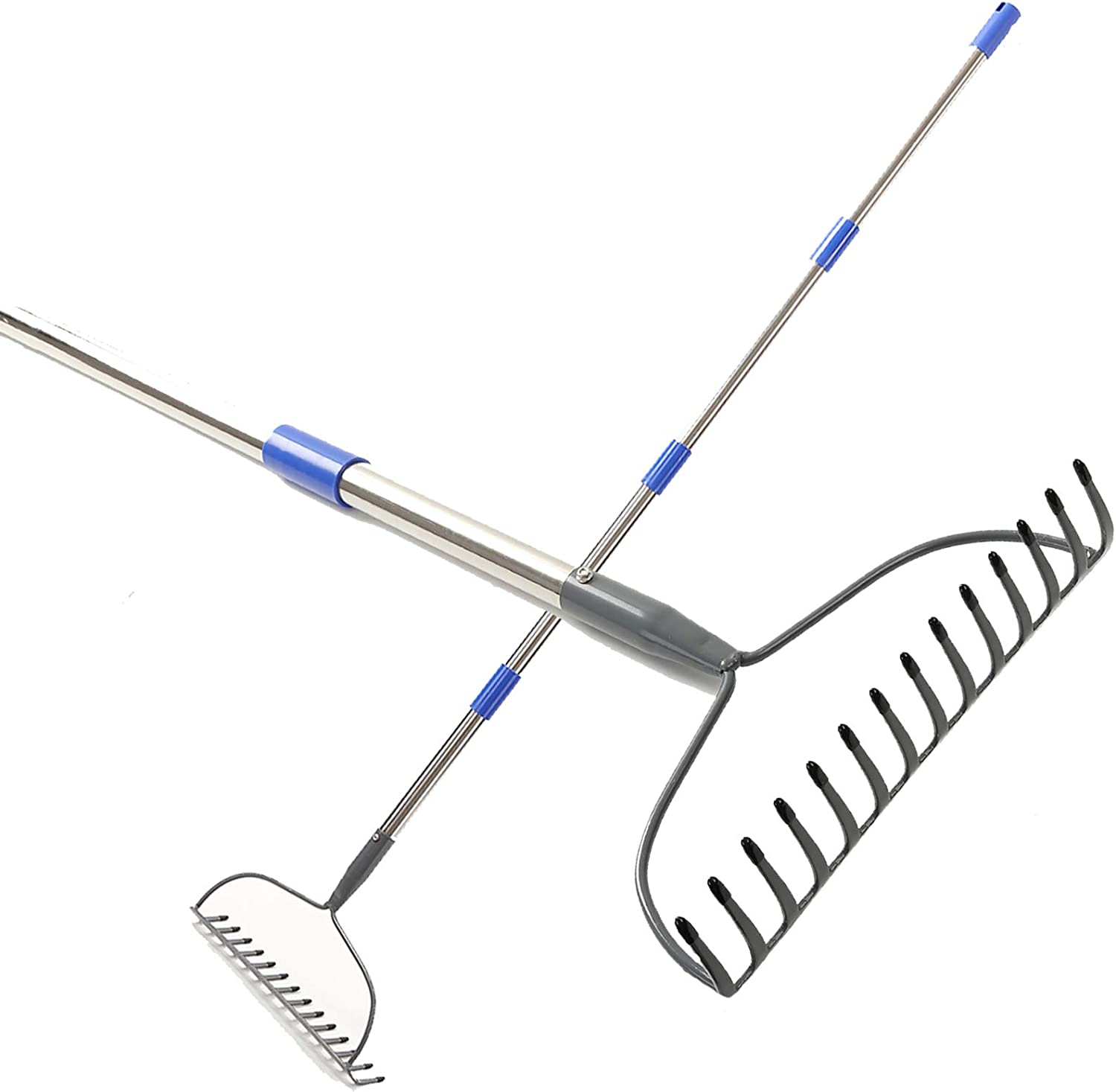 Harrms Bow Rake-5 FT Heavy Duty Raker with Rubber Grip Handle for Gather Fallen Leaves Yard Lawn and Garden with 14 Tines
