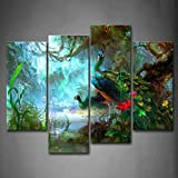 Firstwallart Two Peacocks Walk In Forest Beautiful Wall Art Painting The Picture Print On Canvas Animal Pictures For Home Decor Decoration Gift