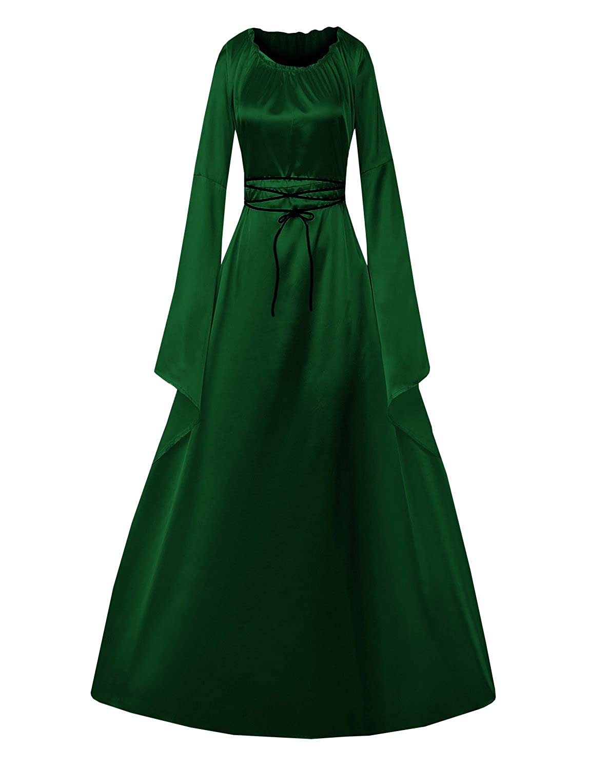 586d04f5acf7 ✿Material: This elegant gown is made of soft polyester and cotton blend  fiber , decorated with lace up . ✿Feature:Long sleeved vintage trumpet  gothic ...