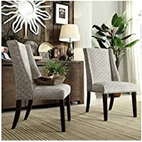 INSPIRE Q Geneva Grey Link Wingback Contemporary Modern Upholstered Hostess Chairs (Set of 2)