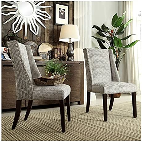 INSPIRE Q Geneva Grey Link Wingback Contemporary Modern Upholstered Hostess Chairs Set Of 2