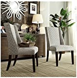 Cheap INSPIRE Q Geneva Grey Link Wingback Contemporary Modern Upholstered Hostess Chairs (Set of 2)