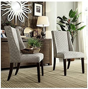 Exceptional INSPIRE Q Geneva Grey Link Wingback Contemporary Modern Upholstered Hostess  Chairs (Set Of 2)