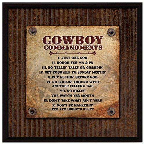 Dexsa Cowboy Commandments.Wood Plaque with Easel -