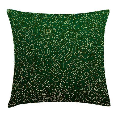 (MEINIU Eco-Friendly Breathable Hunter Green Throw Pillow Cushion Cover Shabby Chic Spring Florets Flower Petals Blossom Essence Flourish Natural,18x18 Inch Decor Pillowcase Warm Sweet Hunter Green)