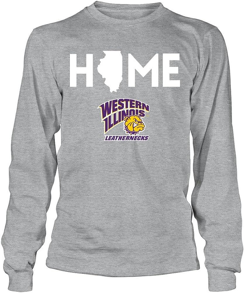 FanPrint Western Illinois Leathernecks T-Shirt - Home State - Longsleeve Tee/Grey/S