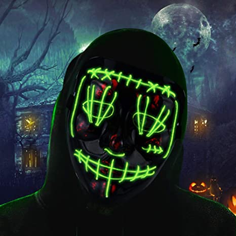 Halloween Costume Led Purge Mask Cosplay Scary Face Cool Mask Glowing In The Dark With 3 Lighting Modes El Wire Light Up For Halloween Festival Party Green Dress Up Pretend