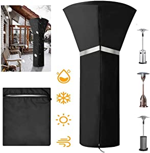 IDOXE Heat Lamp Cover Outdoor, Updated Oxford Fabric Waterproof Garden Treasure Patio Gas Heater Cover with Zipper and Reflective Strip, PU Coating, Anti-UV, 33