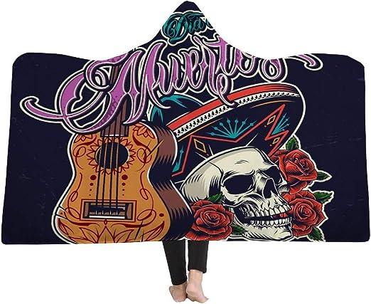 EVEYYBKMT Manta cálida Carzy Fashion Man Skull con Guitarra ...