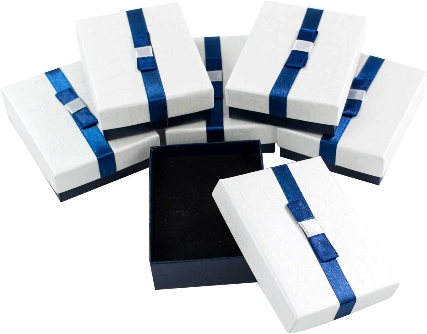 TRIXES Caja para Joyas 6 Piezas - Cajas de Regalo de cartón con Tapa - Azul Oscuro y Blanco Perla - Interior de Espuma - para Collares Anillos Pendientes Pantalla 9 x 7 x 3cm
