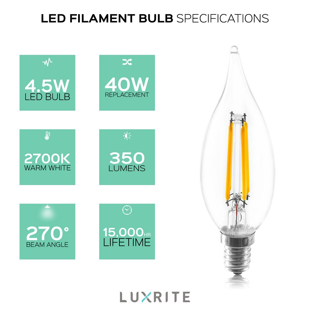 LED Filament Light Bulb 2700K Warm White 4.5W Dimmable Flame Tip E12 Candelabra Base Damp Rated Luxrite LED Edison Chandelier Bulb 10-Pack 350 Lumens UL Listed Energy Star 40W Equivalent