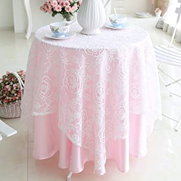 Amazon White Floral Lace Pink Underlay Tablecloth For Wedding