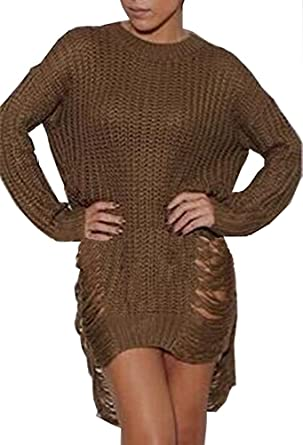 e1150f1285b Women Sexy Ripped Knitted Loose Side Slit Pullovers Sweater Dress Coffee S