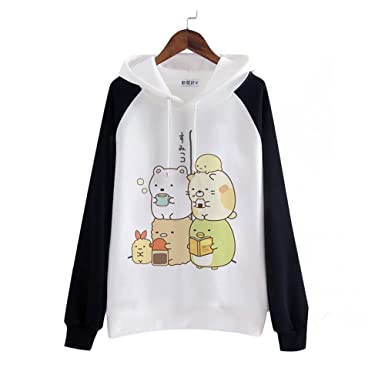 Amazon.com  packitcute Kawaii Cartoon Cotton Fleece Hoodie for Women ... 4e6ea600626