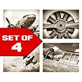 vintage aviation decor - Antique Sepia Vintage Aviation Wall Art, Set of Four 8x10 Airplane Theme Decor Prints, Great for Mens gift, office, home, bachelor pad, Barbershop Decoration! Only at Wallables!