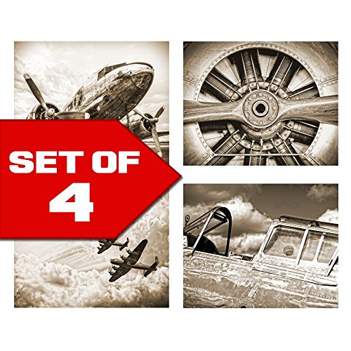 Wallables Wall Decor (Antique Sepia Vintage Aviation Wall Art, Set of Four 8x10 Airplane Theme Decor Prints, Great for Mens gift, office, home, bachelor pad, Barbershop Decoration! Only at Wallables!)