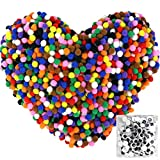 Pom Poms 2000pcs 1cm (0.4 Inch) with 100pcs Wiggle Googly Eyes for Creative Crafts DIY Decorations Assorted Colors