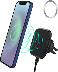 Magnetic Wireless Car Charger & Phone Holder Mount,15W QI Fast Charging Adapter Compatible with iPhone 12/iPhone 11 Pro/11/XS/XR/X/8/8 Plus, Samsung Galaxy, LG,etc.