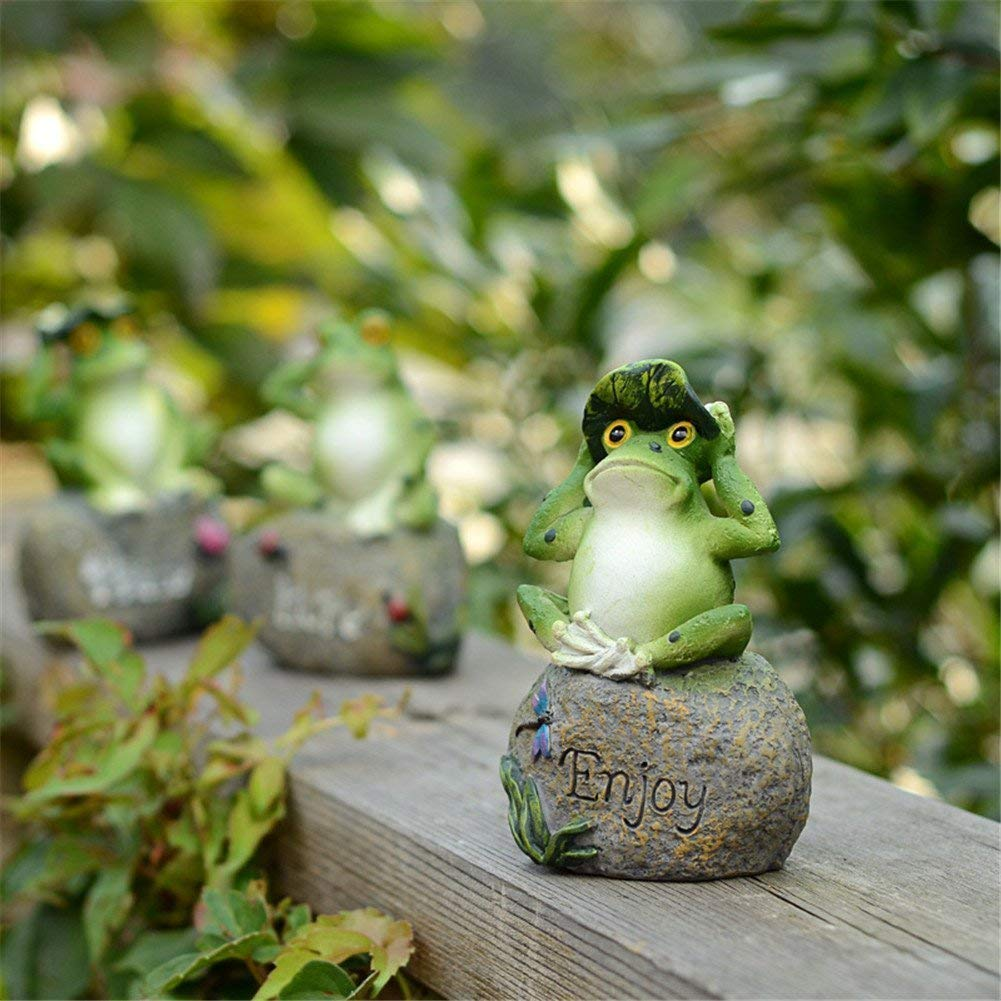 CoolPlus Frog Statues for Garden Decor Lawn Ornaments Figurines Outdoors Yard Decorations, About 6.5 inches, A Set of 3, Hand Painted Green