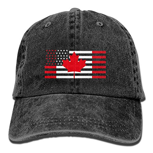 HDRAY Unisex Adult USA Canada Flag Washed Denim Cotton Sport Outdoor Baseball Cap Adjustable One - Usps Canada Delivery