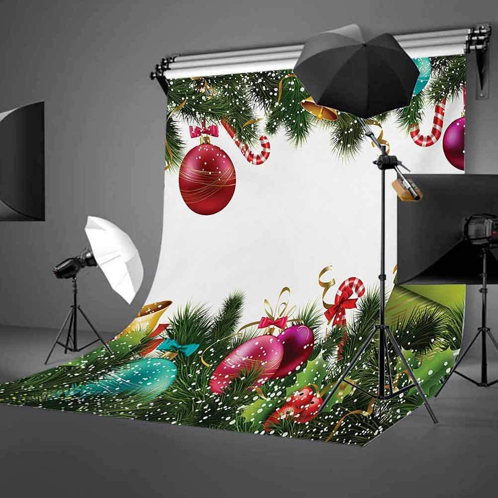 Christmas 8x10 FT Photo Backdrops,Happy New Year Greeting Celebrations with Holly Garland Artful Design Background for Child Baby Shower Photo Vinyl Studio Prop Photobooth Photoshoot Green Maroon