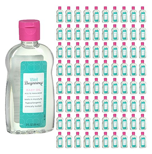 (240 Pack) Well Beginnings Baby Oil Hypoallergenic Moisturizing Travel Size 3oz by Well Beginnings