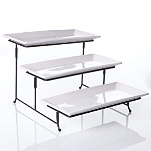 Porcelain 3 Tier Serving Tray - Rectangular Tier Serving Tray - Party Dessert Tiered Tray, 12-Inch Plate Set - White Tiered Cake Serving Stand- Dishwasher Safe Porcelain Appetizer 3-Tier Stand