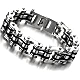 Masculine Mens Bike Chain Bracelet of Stainless Steel Two-tone Polished