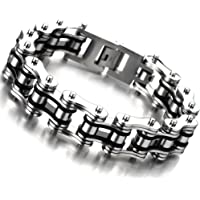COOLSTEELANDBEYOND Masculine Mens Bike Chain Bracelet of Stainless Steel Silver Black Two-Tone High Polished