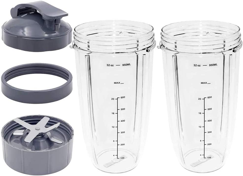 5-Pieces Blender Cups and Blade Replacement Parts Compatible with NutriBullet Cups,Vodche Blade & Cups for NutriBullet Blender 600W/900W Models (32OZ)