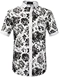 SSLR Men's Floral Button Down Short Sleeve Hawaiian Tropical Shirt (Large, White Black)