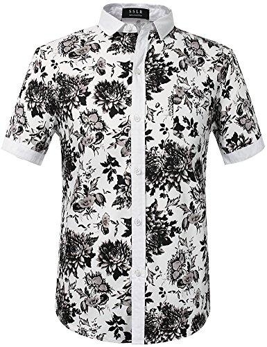 08e84acb491 SSLR Men s Floral Button Down Short Sleeve Hawaiian Tropical Shirt ...