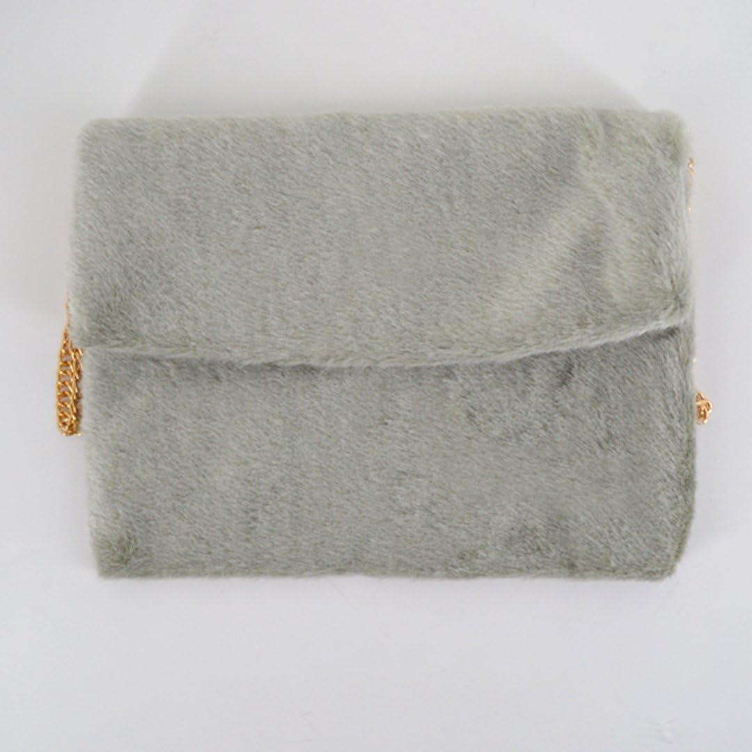 ABBY Femme sac enveloppe sac d'épaule nouveau sac à main en fourrure en automne et en hiver/Gris Gris