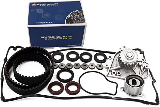 Compatible for 1996 1997 1998 1999 2000 2001 Acura Integra//1997 1998 1999 2000 2001 Honda CR-V OCPTY Timing Belt Kit Including Timing Belt Water Pump with Gasket tensioner Bearing etc